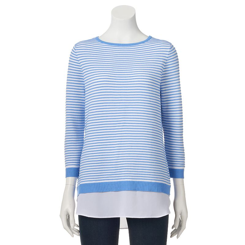 Women's Croft & Barrow® Mock-Layer Crewneck Sweater