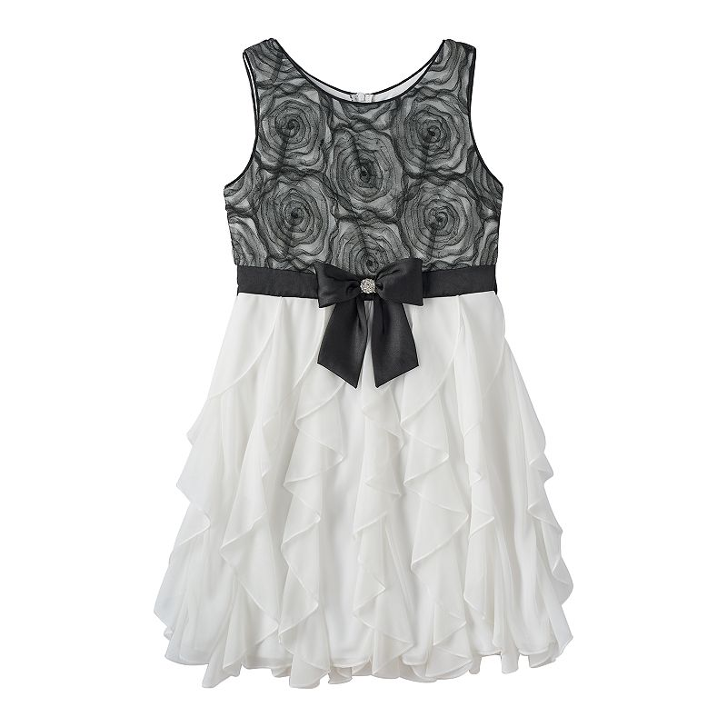 Girls 7-16 My Michelle Floral Lace Ruffled Dress