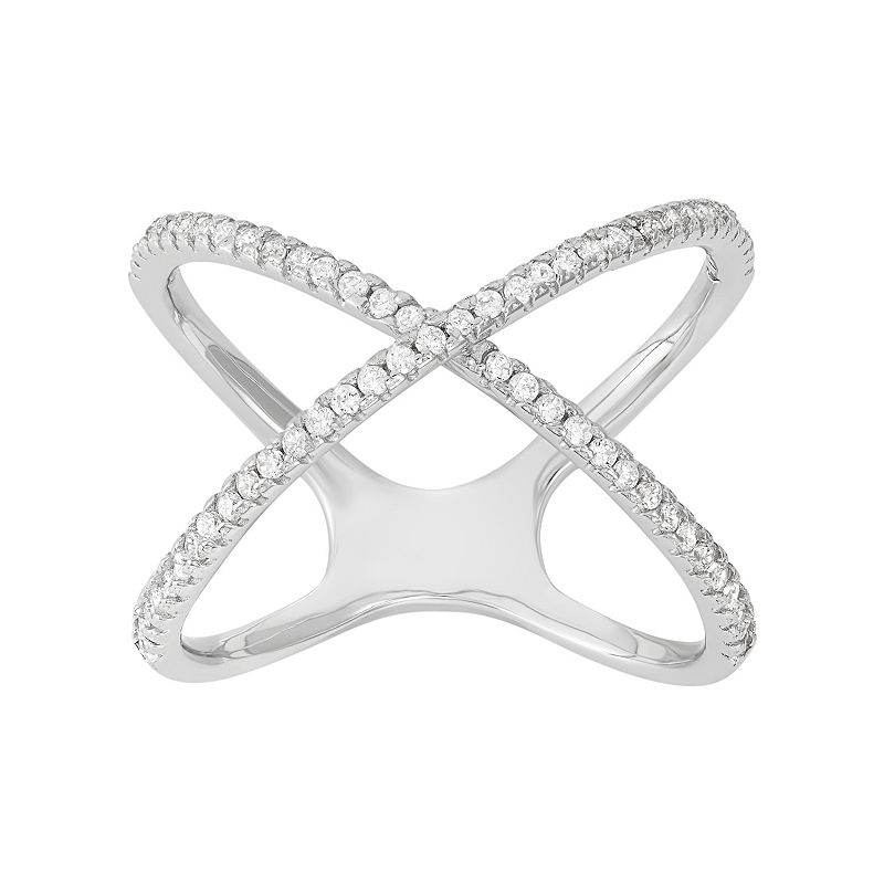 Cubic Zirconia Sterling Silver Crisscross Ring