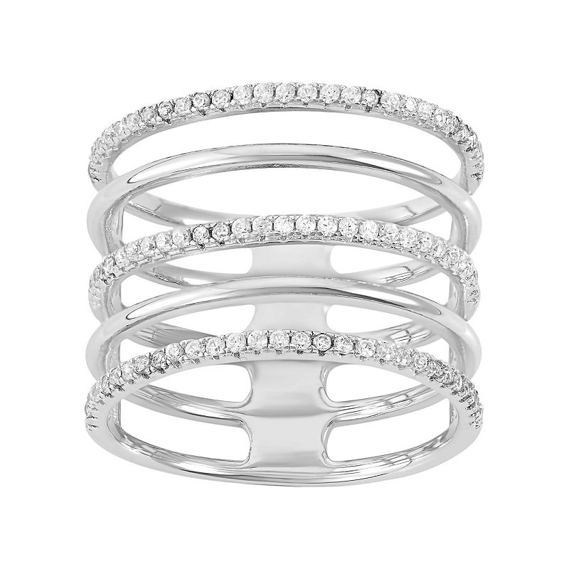 Cubic Zirconia Sterling Silver 5-Row Ring