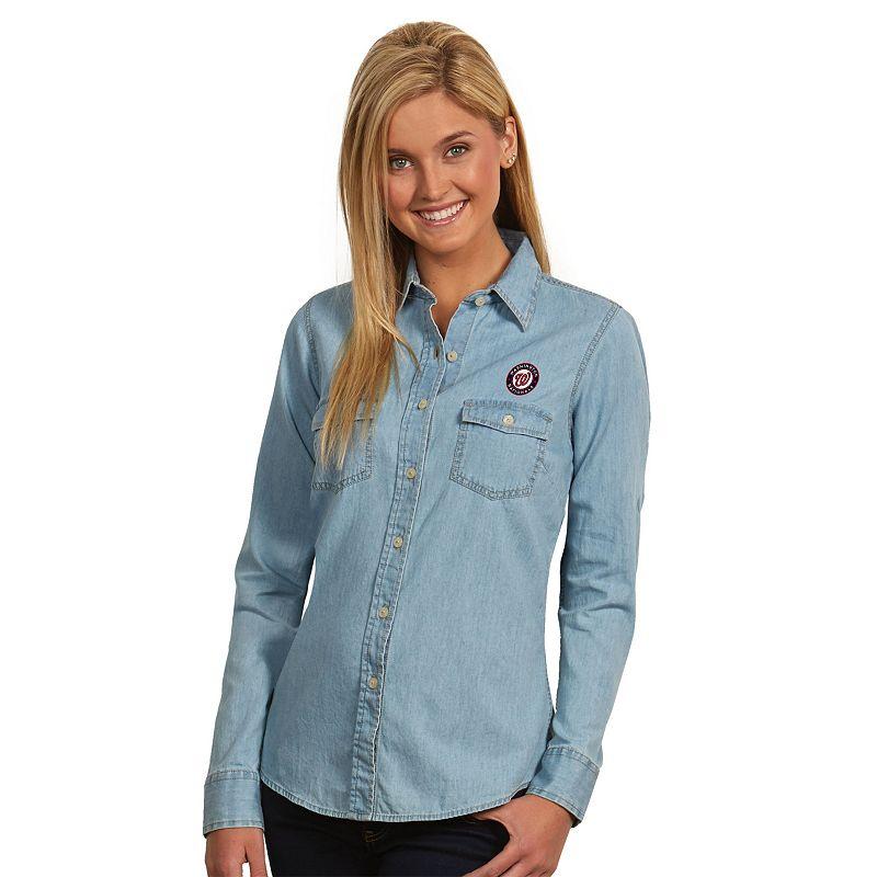Women's Antigua Washington Nationals Chambray Button-Down Shirt