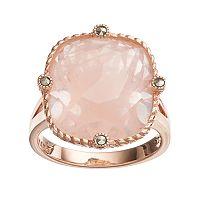 Lavish by TJM 18k Rose Gold Over Silver Rose Quartz & Marcasite Ring