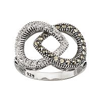 Lavish by TJM Sterling Silver Marcasite & Crystal Teardrop Ring