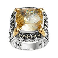 Lavish by TJM Sterling Silver Cubic Zirconia & Marcasite Halo Ring