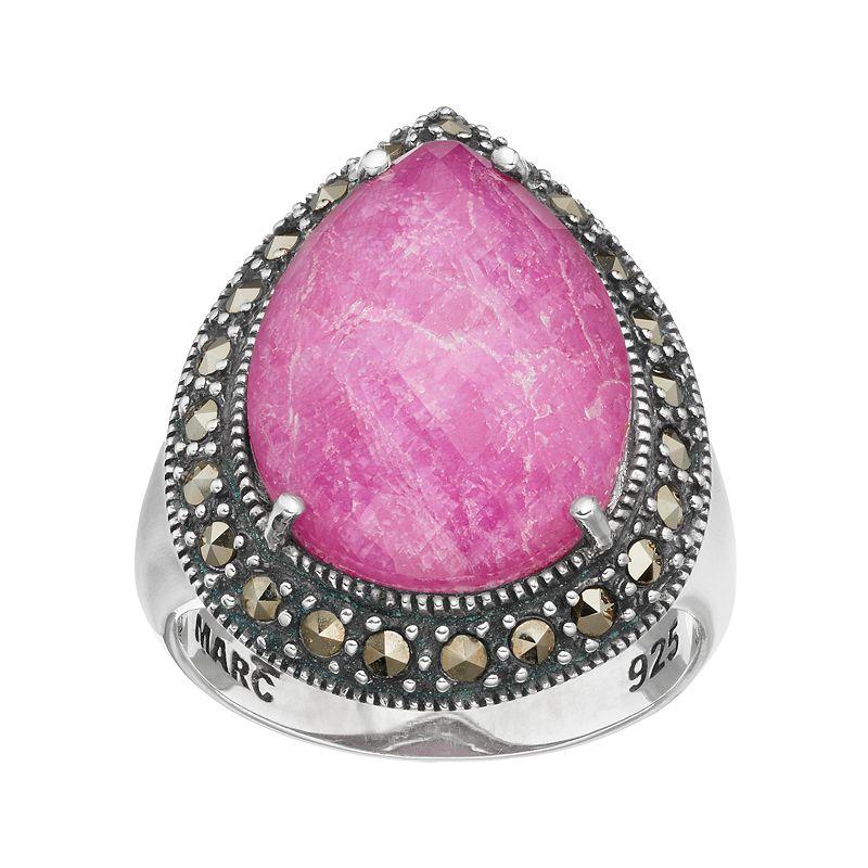 Lavish by TJMSterling Silver Ruby Doublet & Marcasite Teardrop Ring