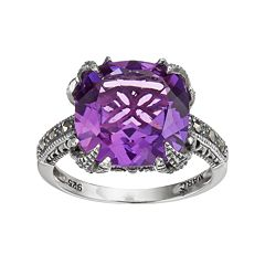 Lavish by TJM Sterling Silver Lab-Created Amethyst & Marcasite Ring by