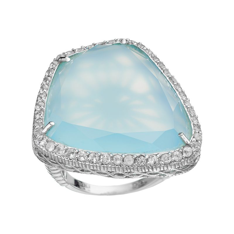 SIRI USA by TJM Sterling Silver Chalcedony & White Topaz Halo Ring