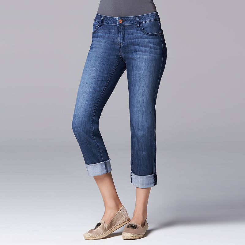 Women's Simply Vera Vera Wang Cuffed Denim Capris