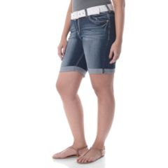 Juniors' Plus Size Wallflower Faded Denim Bermuda Shorts
