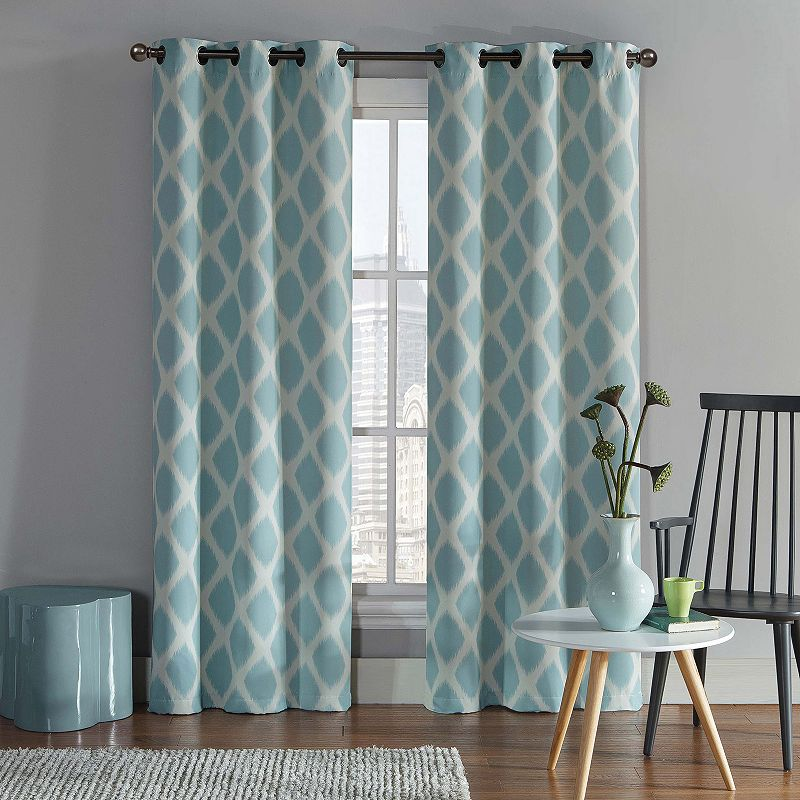 Blue Polyester Blackout Curtain