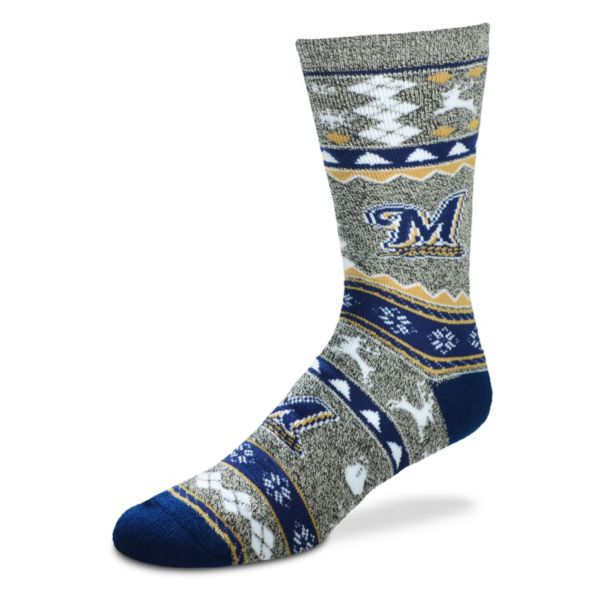 Men's For Bare Feet Milwaukee Brewers Holiday Crew Socks