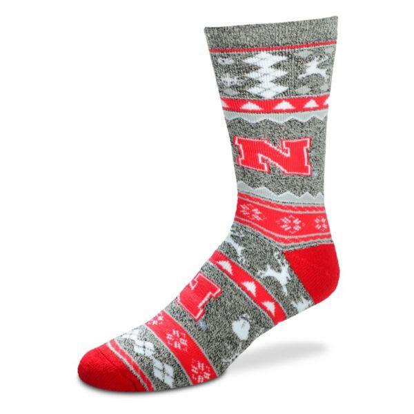 Men's For Bare Feet Nebraska Cornhuskers Holiday Crew Socks
