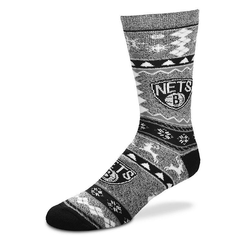 Men's For Bare Feet Brooklyn Nets Holiday Crew Socks