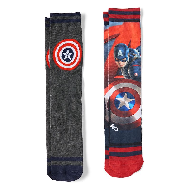 Men's 2-pk. Marvel Captain America Photoreal Crew Socks