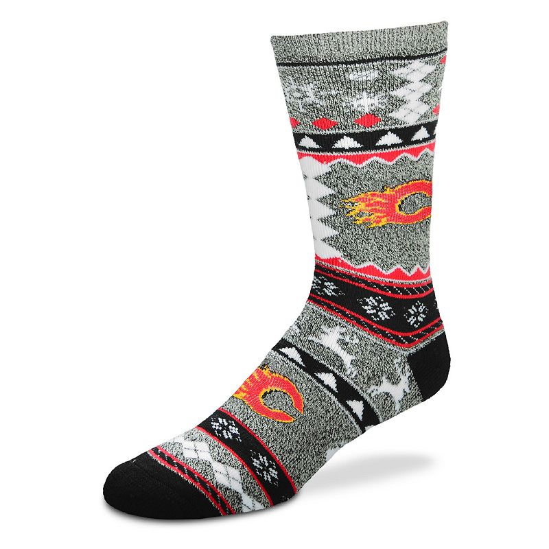 Men's For Bare Feet Calgary Flames Holiday Crew Socks