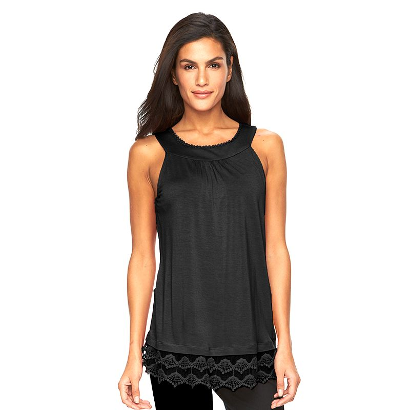 Women's AB Studio Solid Lace-Hem Tank