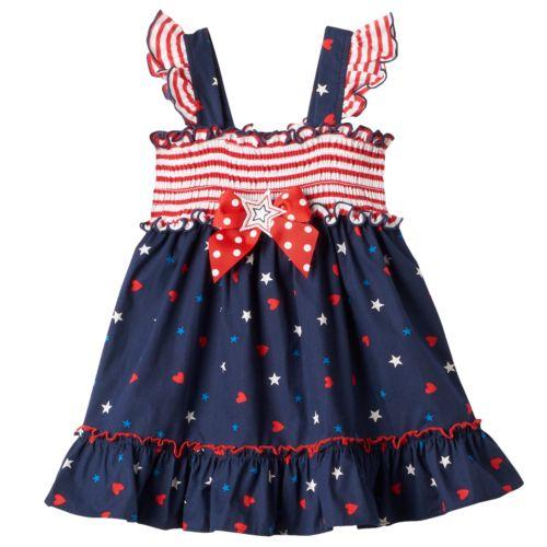 Toddler Girl Sophie Rose Patriotic Smocked Dress