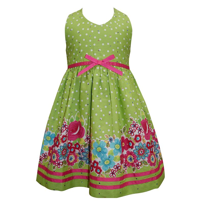 Toddler Girl Blueberi Boulevard Polka-Dot Flower Halter Dress