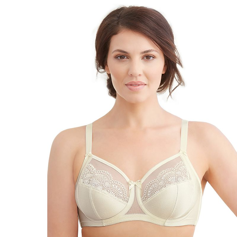 Glamorise Bra: Satin & Lace Wonderwire Full-Figure Bra - 9840