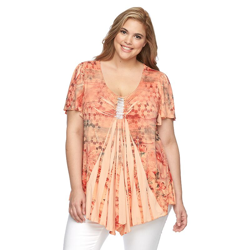Plus Size World Unity Sublimation Embellished Top