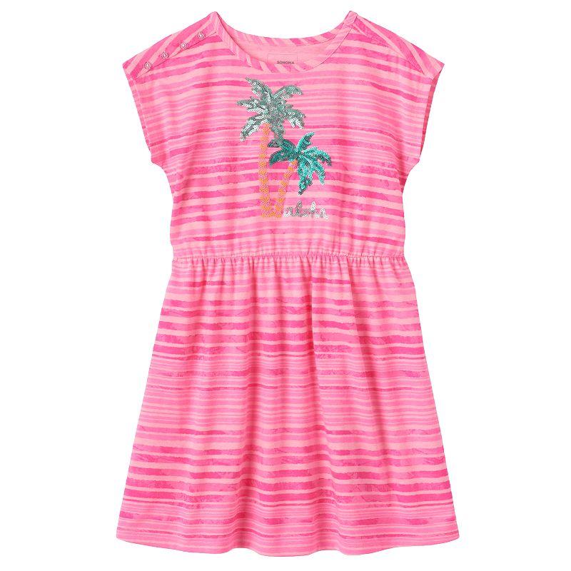 Girls 4-7 SONOMA Goods for Life™ Sequin Palm Tree Dolman Dress