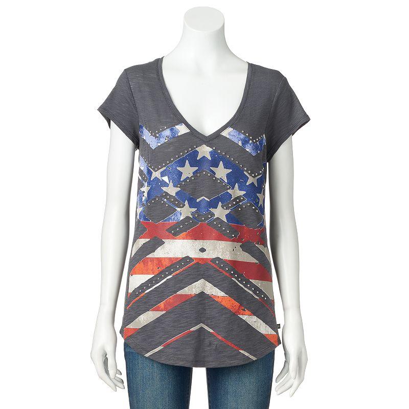 Women's Rock & Republic® Studded Flag Graphic Tee