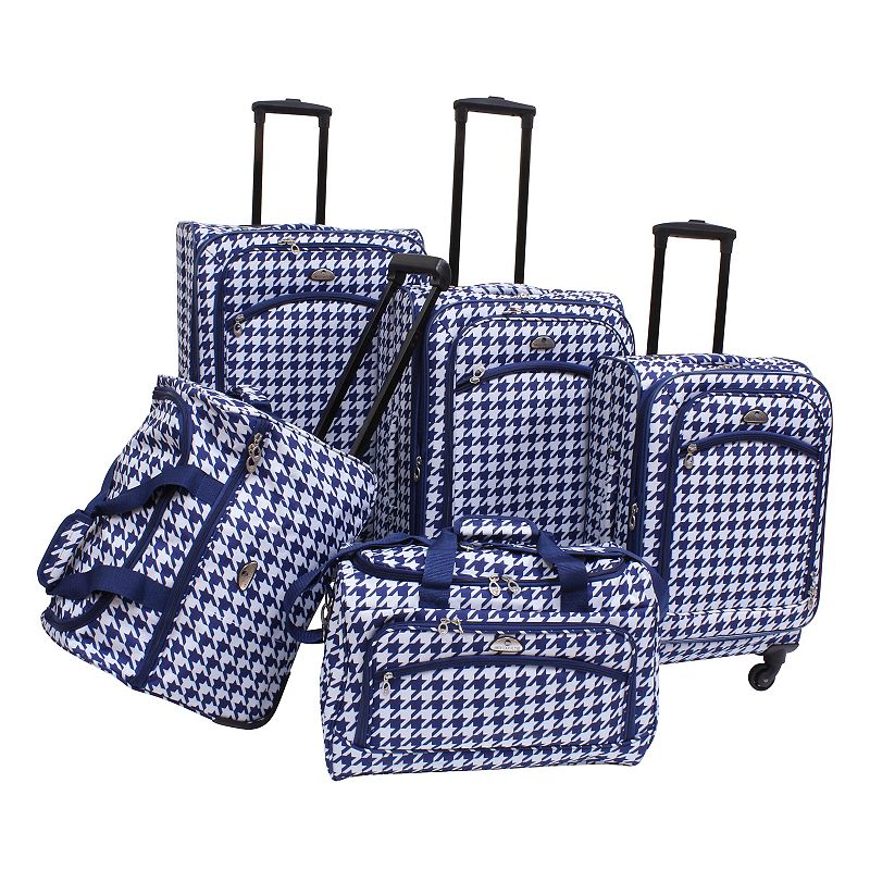 American Flyer Houndstooth 5-Piece Spinner Luggage Set