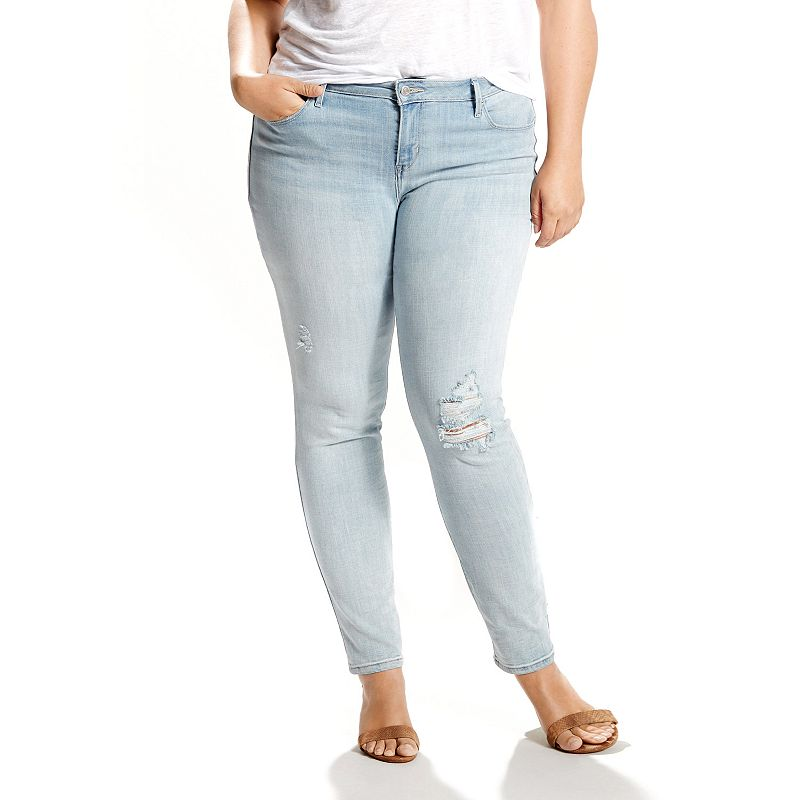 Plus Size Levi's Ripped Mid Rise Skinny Jeans