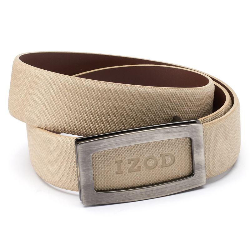 Men's IZOD Cutout Logo Plaque Golf Belt, Size: 32, Beig/Green (Beig/Khaki) thumbnail