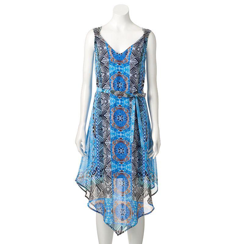 Women's Halo Print Asymmetrical Midi Dress