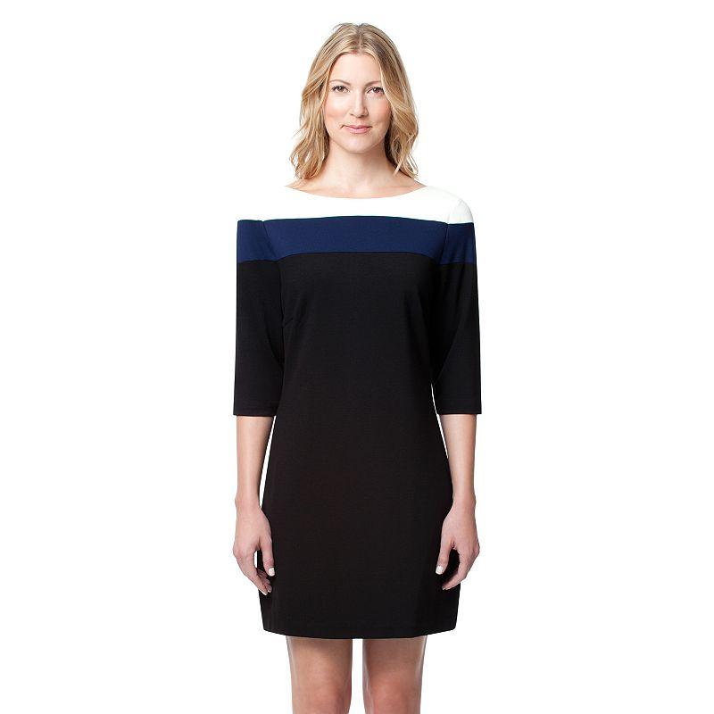 Women's Larry Levine Colorblock Ponte Shift Dress