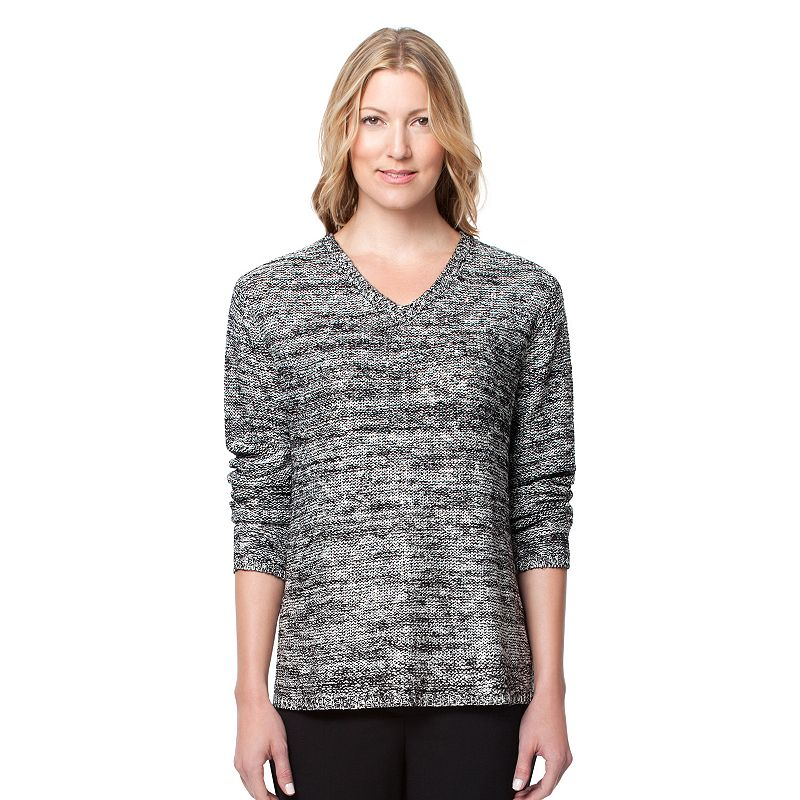 Women's Larry Levine Marled Split-Back V-Neck Sweater