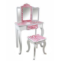Teamson Kids Fashion Prints White Zebra Vanity Table & Stool Set