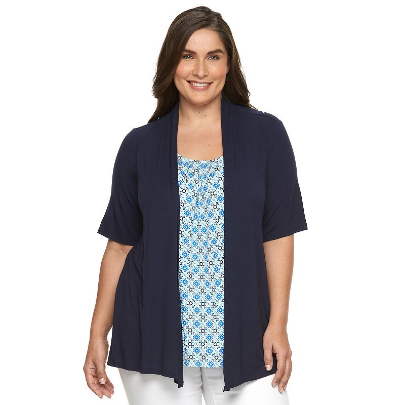 Plus Size Croft & Barrow® Mock-Layer Cardigan