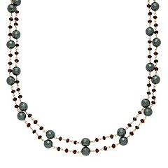 14k Gold Hematite & Garnet Multistrand Necklace by