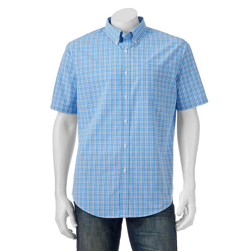 Big & Tall Croft & Barrow® Classic-Fit Plaid Easy-Care Short-Sleeve Button-Down Shirt