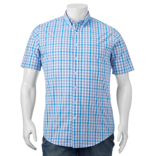 Big & Tall Croft & Barrow® Classic-Fit Plaid Easy-Care Short-Sleeve Button-Down Shirt