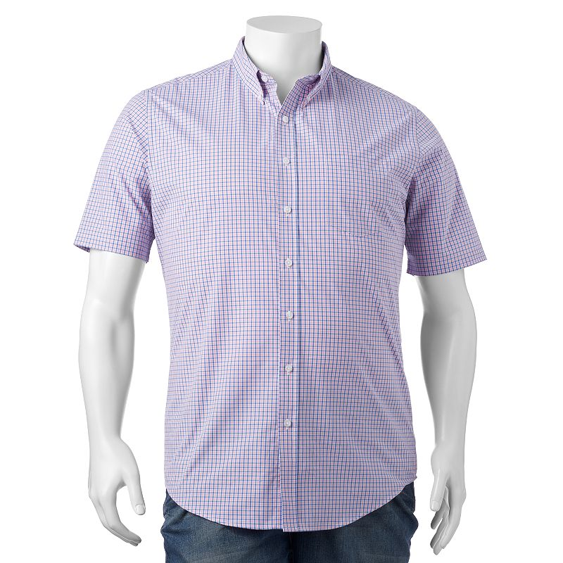 Big & Tall Croft & Barrow® Classic-Fit Gingham-Checked Easy-Care Button-Down Shirt