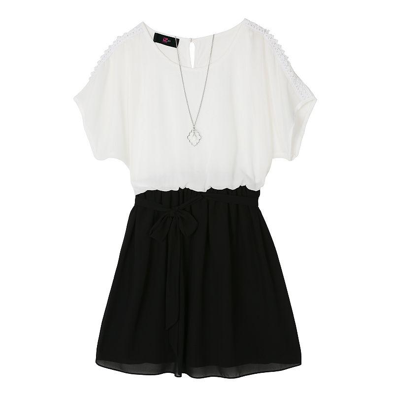 Girls 7-16 IZ Amy Byer Two-Tone Cold-Shoulder Dress
