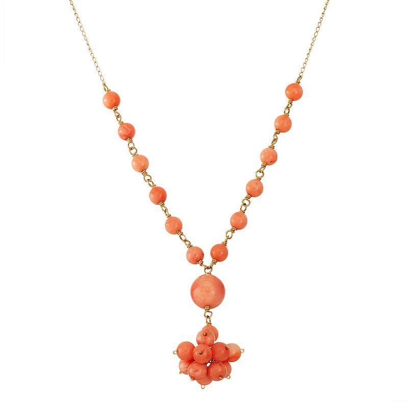 14k Gold Coral Cluster Y Necklace