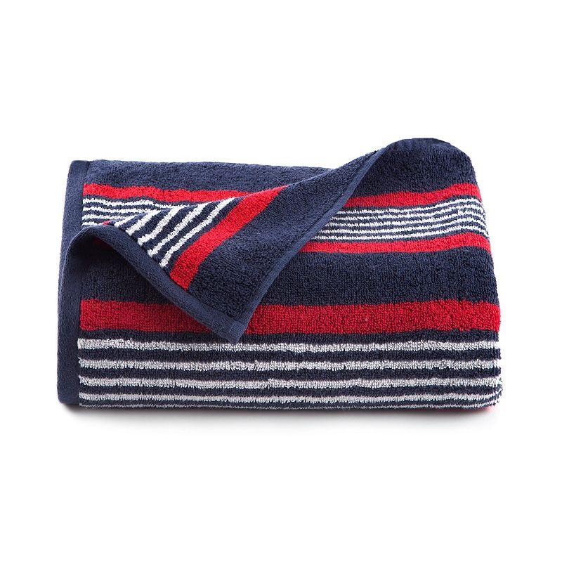 IZOD Racer Stripe Navy Bath Towel