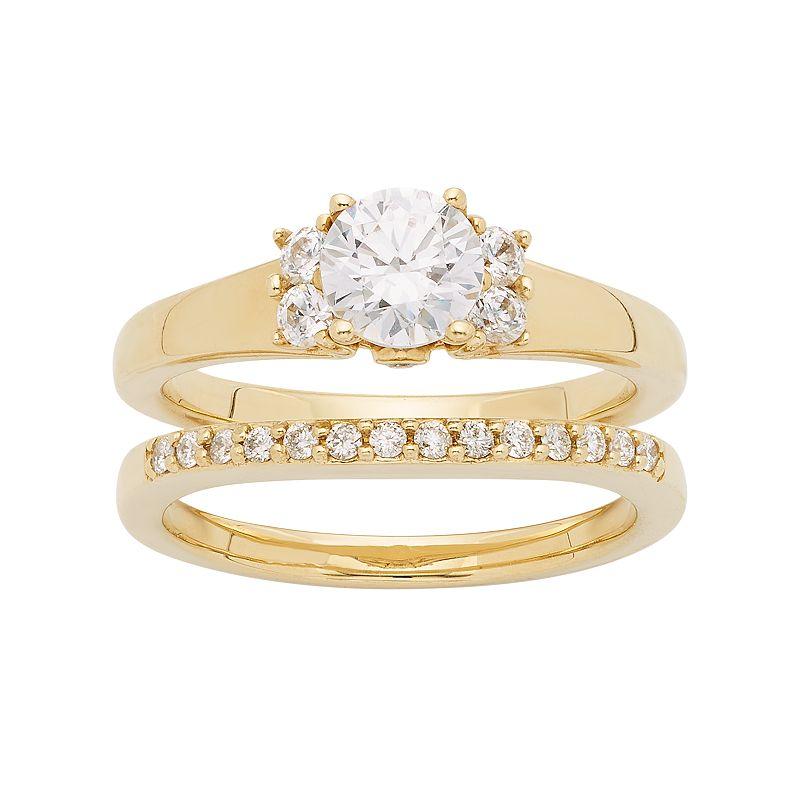 14k Gold 3/4 Carat T.W. IGL Certified Diamond Cluster Engagement Ring Set