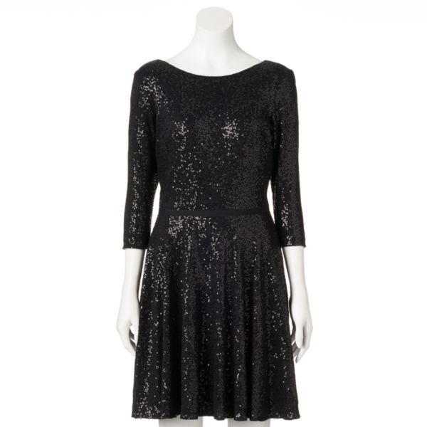 Women's M by Maia Sequin Fit & Flare Dress