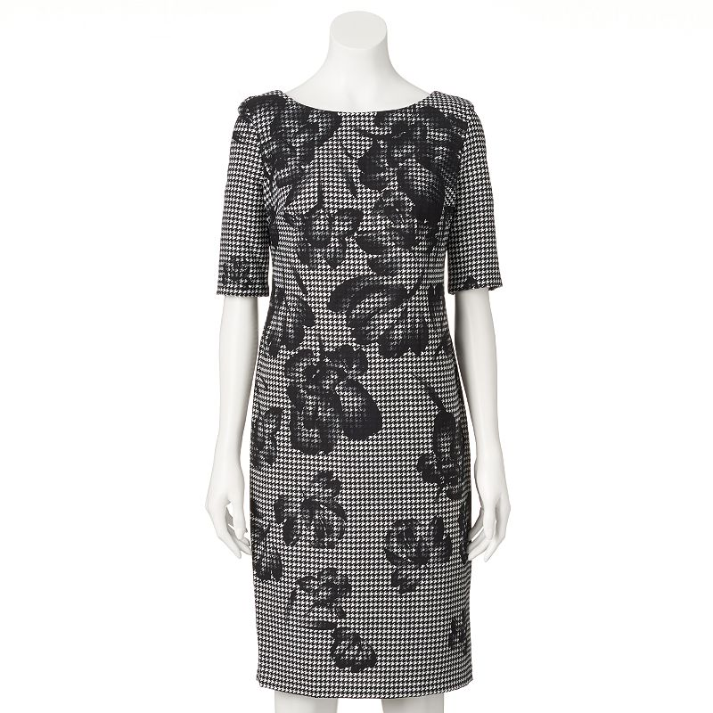 Women's DR by Donna Ricco Floral Houndstooth Sheath Dress