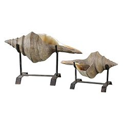 Conch Shell Sculpture Table Decor 2-piece Set by