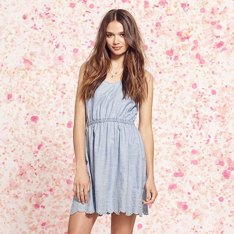 Women's LC Lauren Conrad Embroidered Chambray Dress