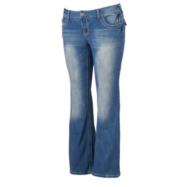 Juniors' Plus Size Amethyst Flap-Pocket Flare Jeans