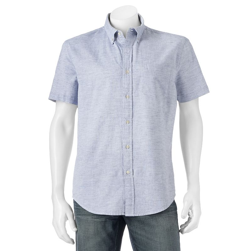 Big & Tall SONOMA Goods for Life™ Classic-Fit Linen-Blend Poplin Button-Down Shirt