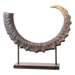 Sable Antelope Horn Sculpture Table Decor by