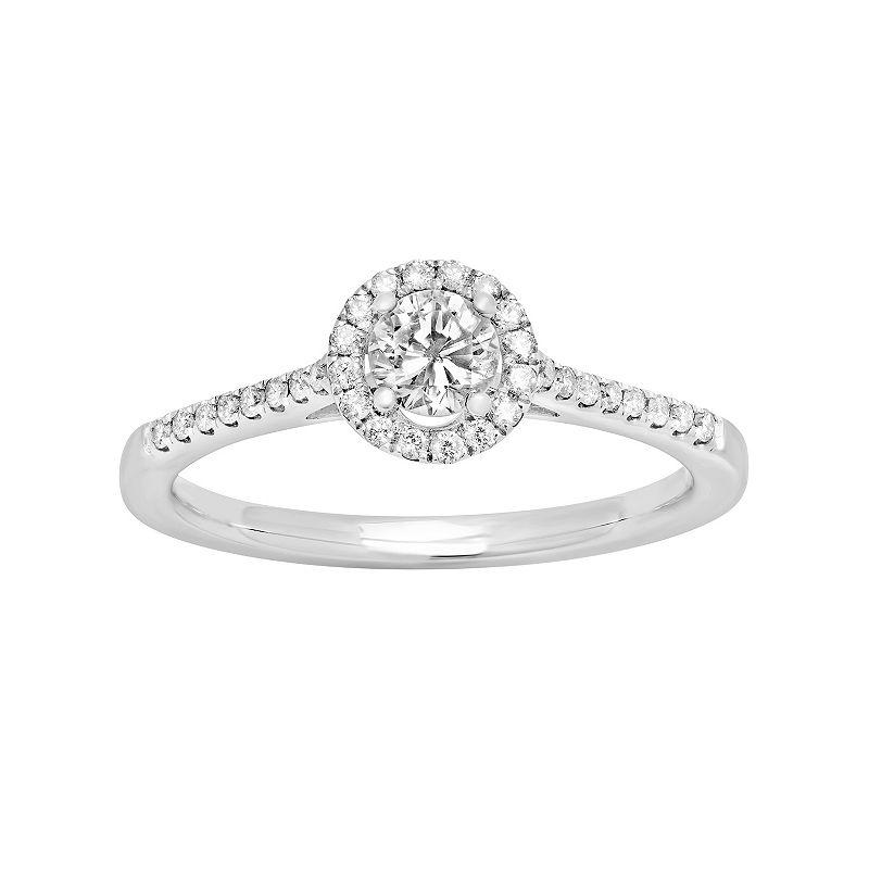 14k White Gold 1/2 Carat T.W. Diamond Halo Engagement Ring